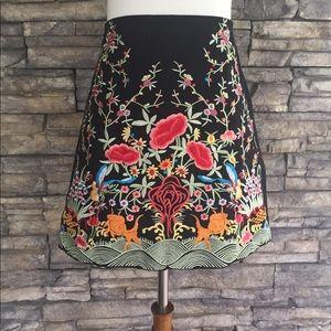 Zara embroidered high waisted mini skirt
